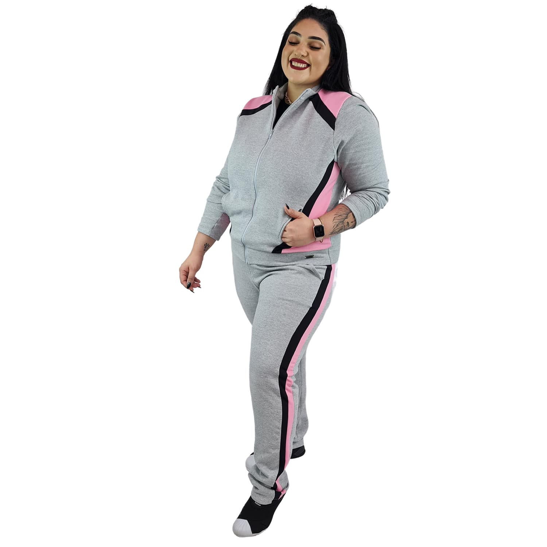Jaqueta Feminina Moletom Plus Size com Bolsos e Zíper Cinza Mescla