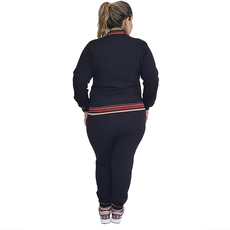 Jaqueta Feminina Moletom Plus Size com Bolsos e Zíper Preto