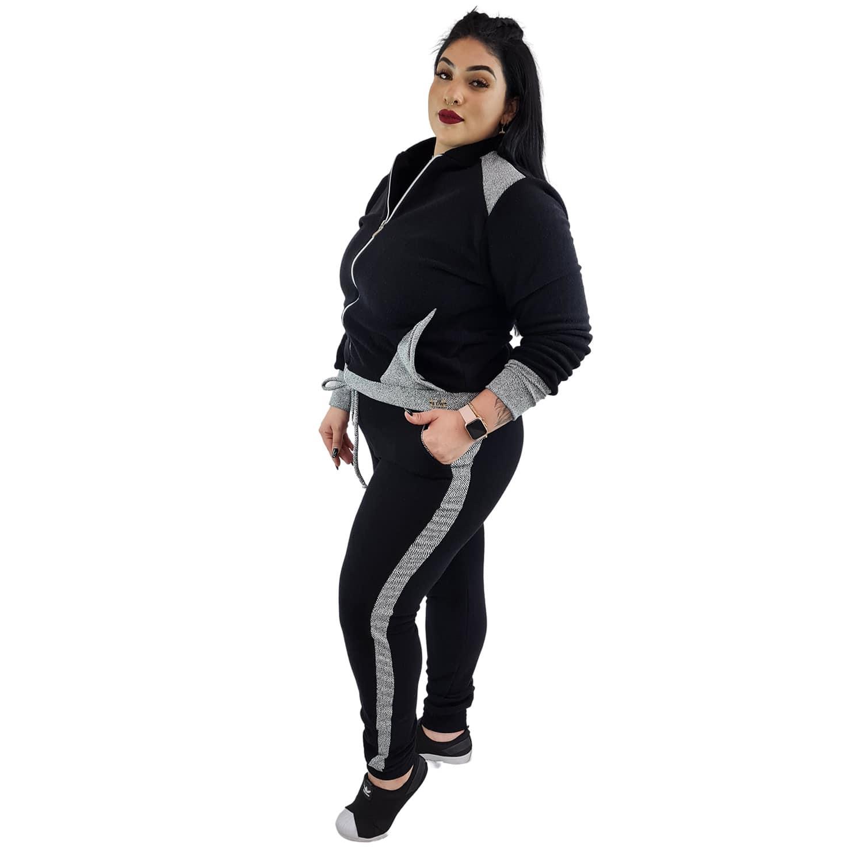 Jaqueta Feminina Moletom Plus Size com Bolsos e Zíper Preto e Cinza
