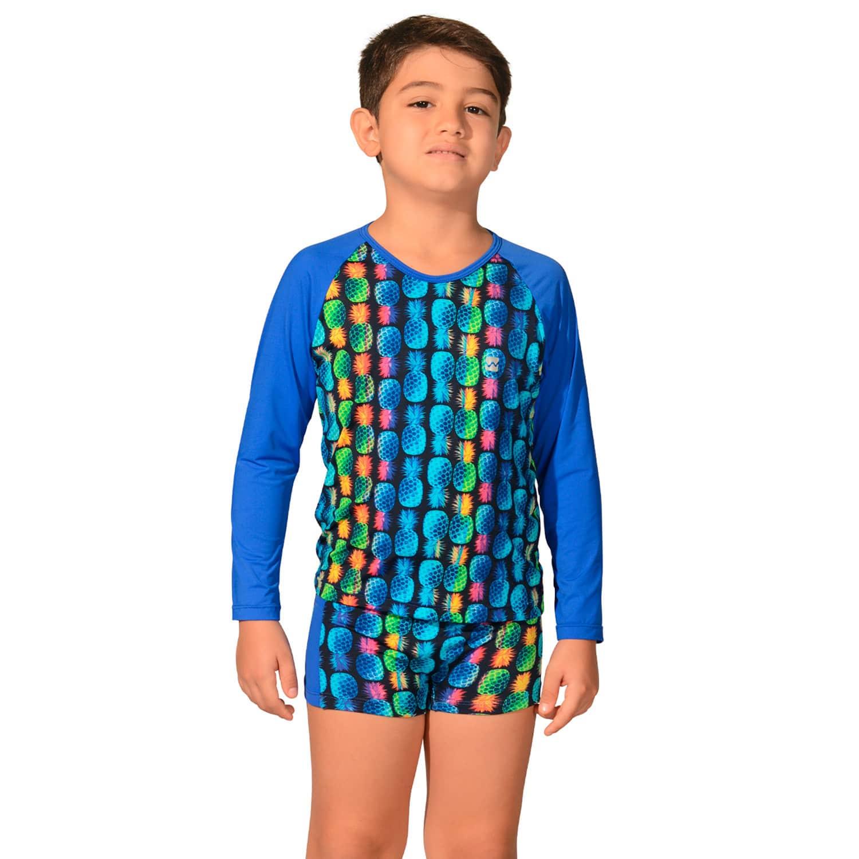 Kit Camiseta Uv Infantil Abacaxi + Sunga Boxer Infantil Abacaxi