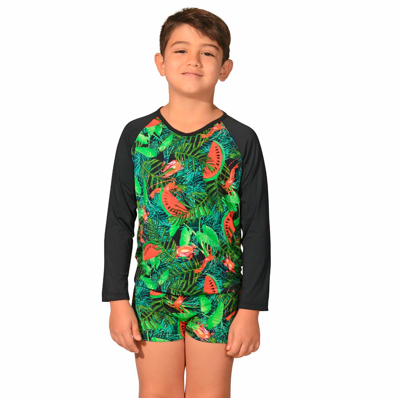 Kit Camiseta Uv Infantil Melancia + Sunga Boxer Infantil Melancia