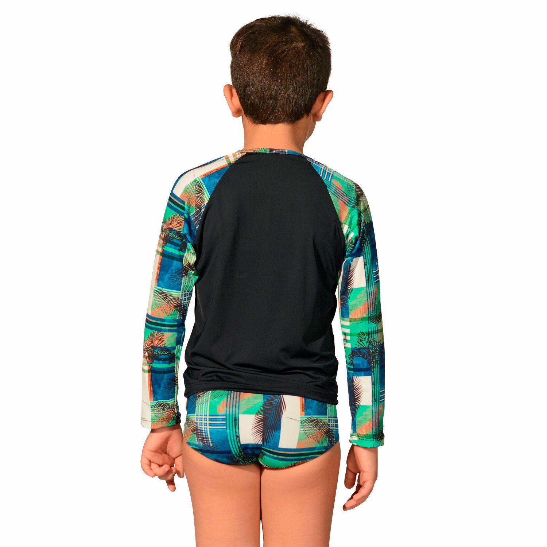 Kit Camiseta Uv Infantil Preta Xadrez + Sunga Infantil Xadrez