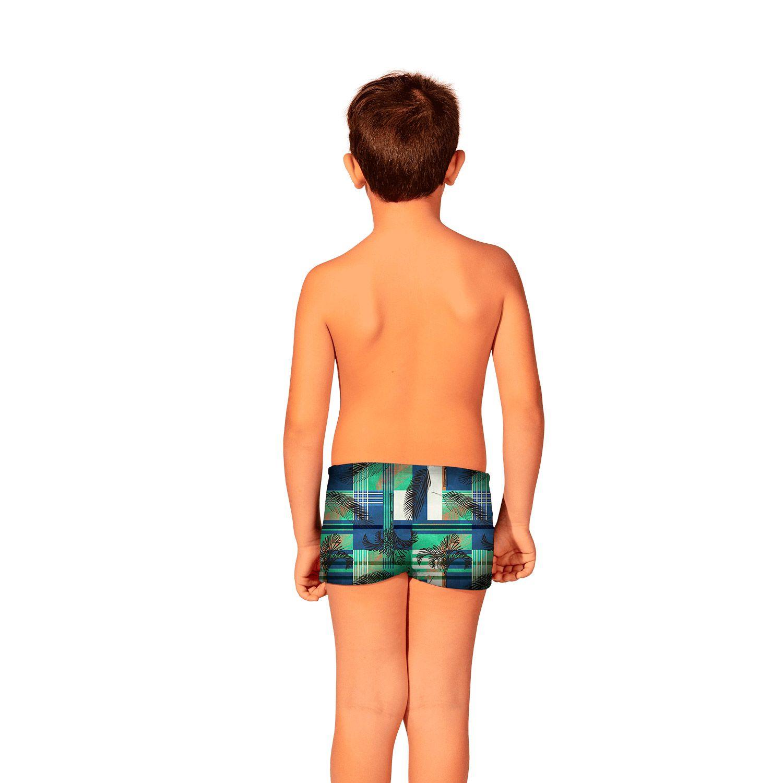 Kit Camiseta Uv Infantil Xadrez + Sunga Boxer Infantil Xadrez