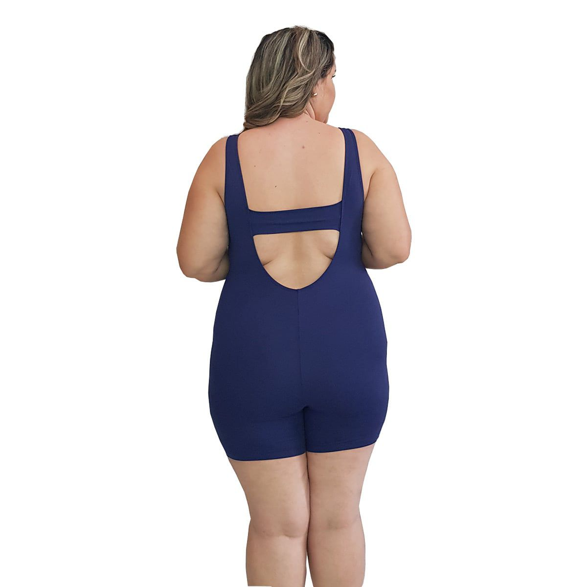 Macaquinho Natação Light Plus Size Azul Marinho