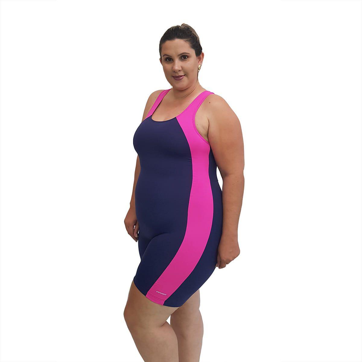 Macaquinho Natação Light Plus Size Azul Marinho com Pink