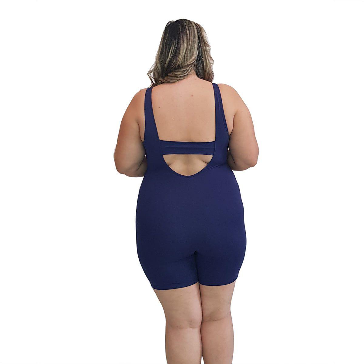 Macaquinho Natação Plus Size com Sustentação Light Azul Marinho com Detalhe em Azul Bic