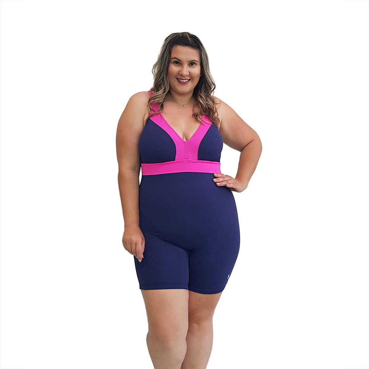 Macaquinho Natação Plus Size com Sustentação Light Azul Marinho com Detalhe Pink