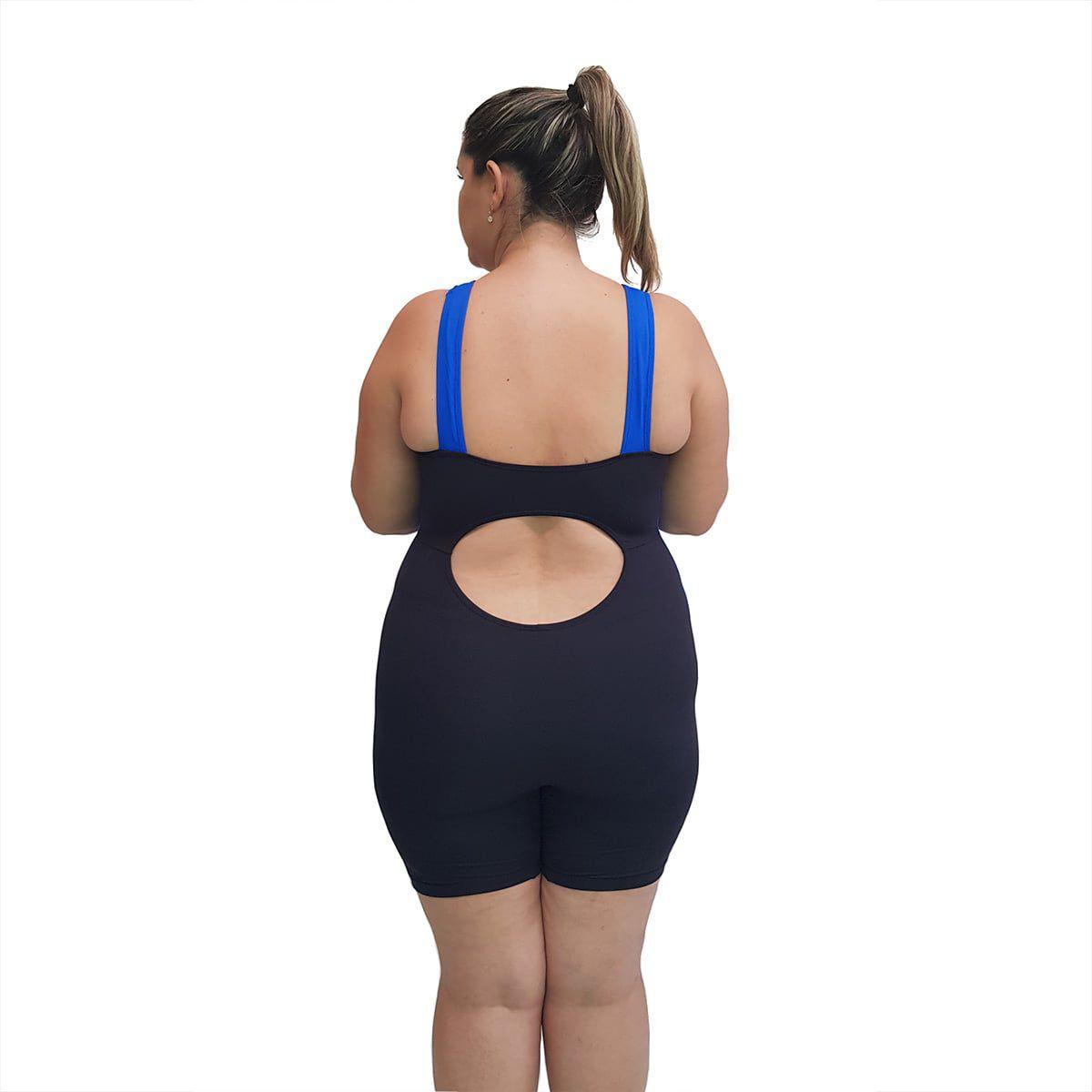 Macaquinho Natação Light Plus Size Preto com Azul Bic