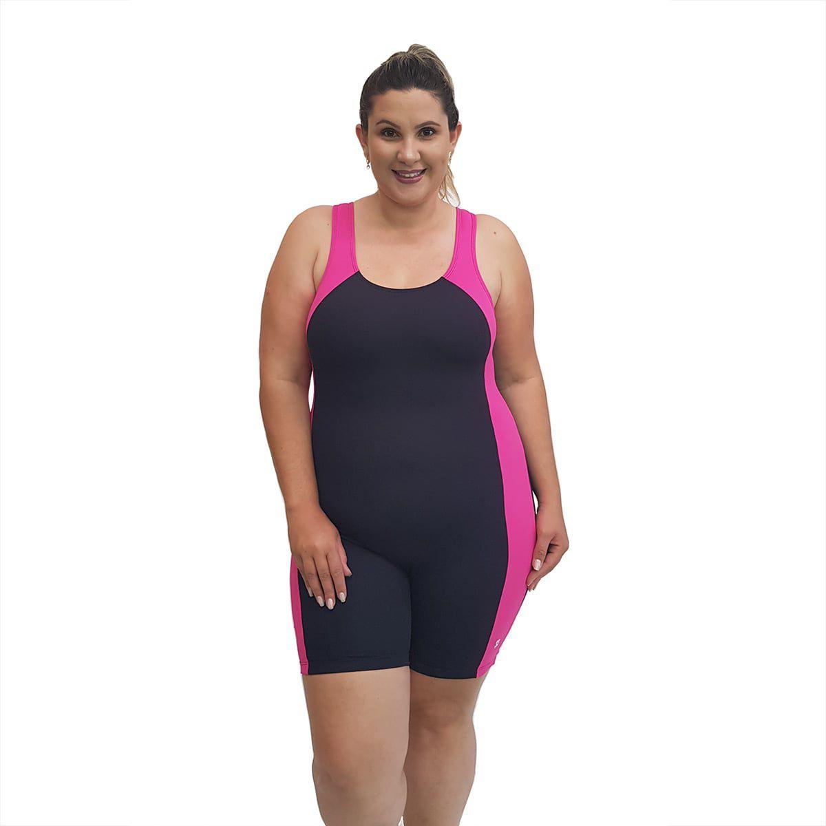 Macaquinho Natação Plus Size Light Preto com Detalhe em Pink