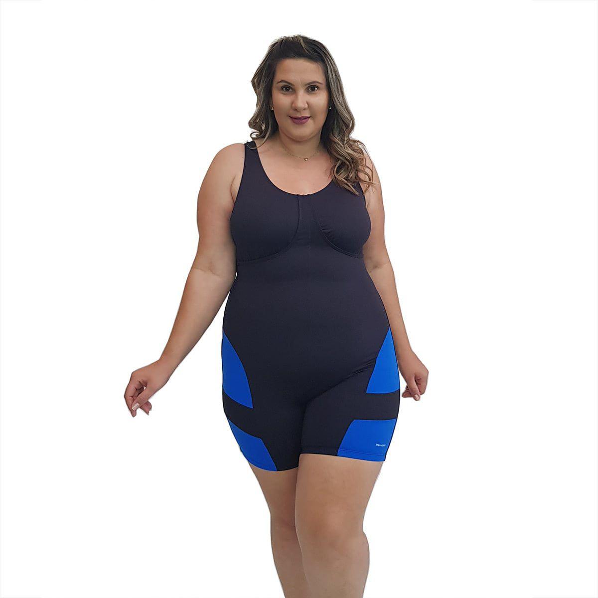 Macaquinho Natação Plus Size com Sustentação Light Preto com Detalhe em Azul Bic