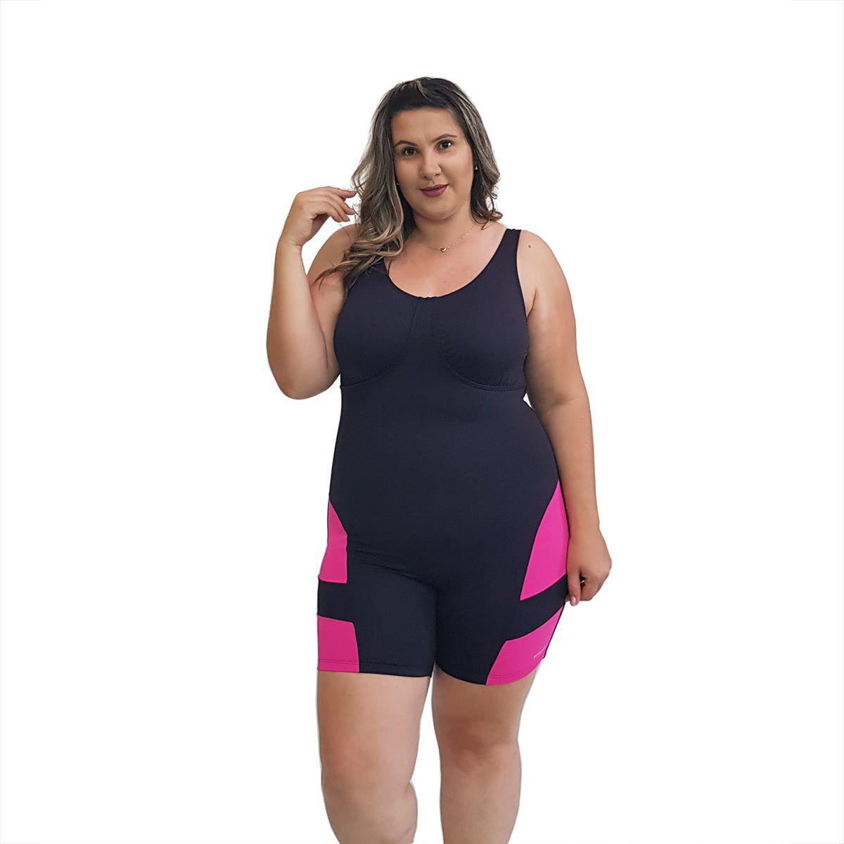 Macaquinho Natação Plus Size com Sustentação Light Preto com Detalhe em Pink