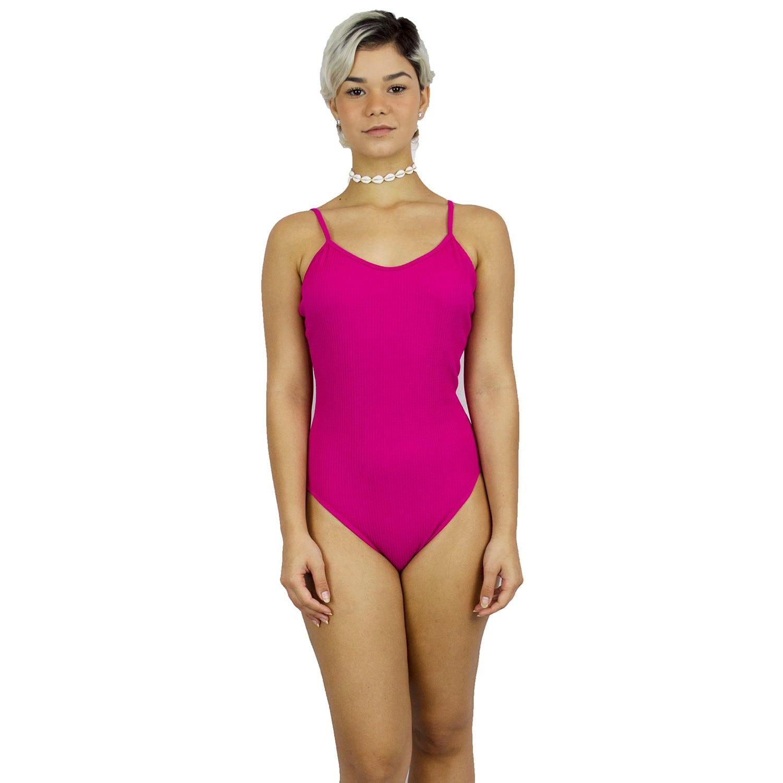 Maiô Body Canelado com Alças Finas Reguláveis Pink