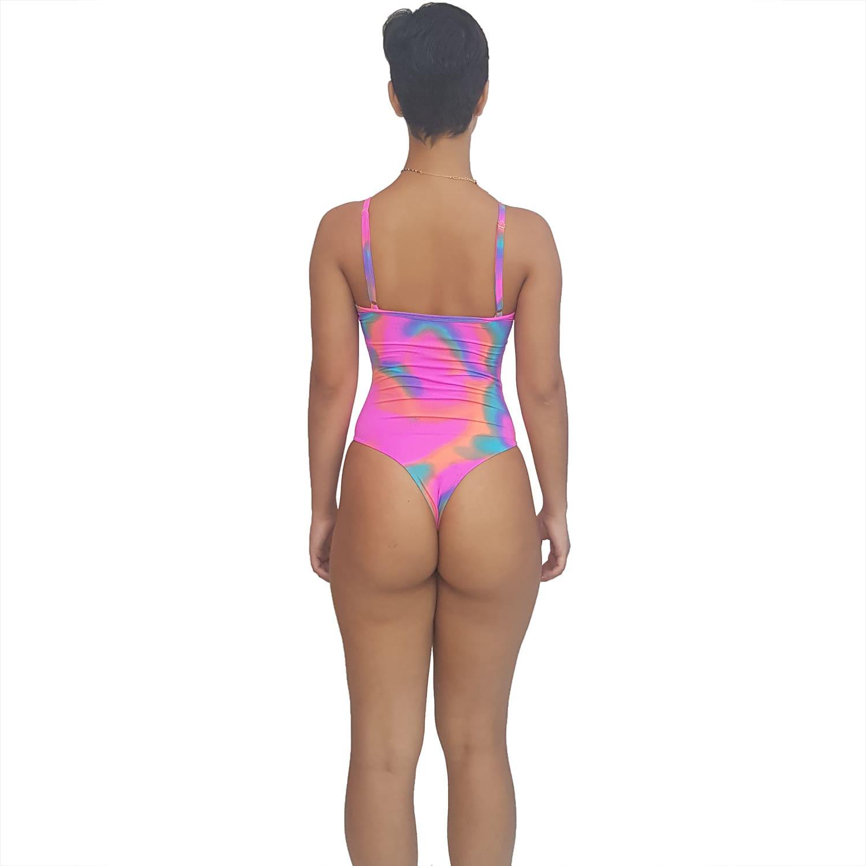 Maiô Body com Alças Finas e Reguláveis Tie Dye