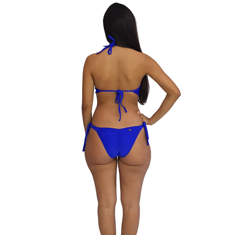 Maiô Body Engana Mamãe com Bojo e Alças Finas Azul Bic