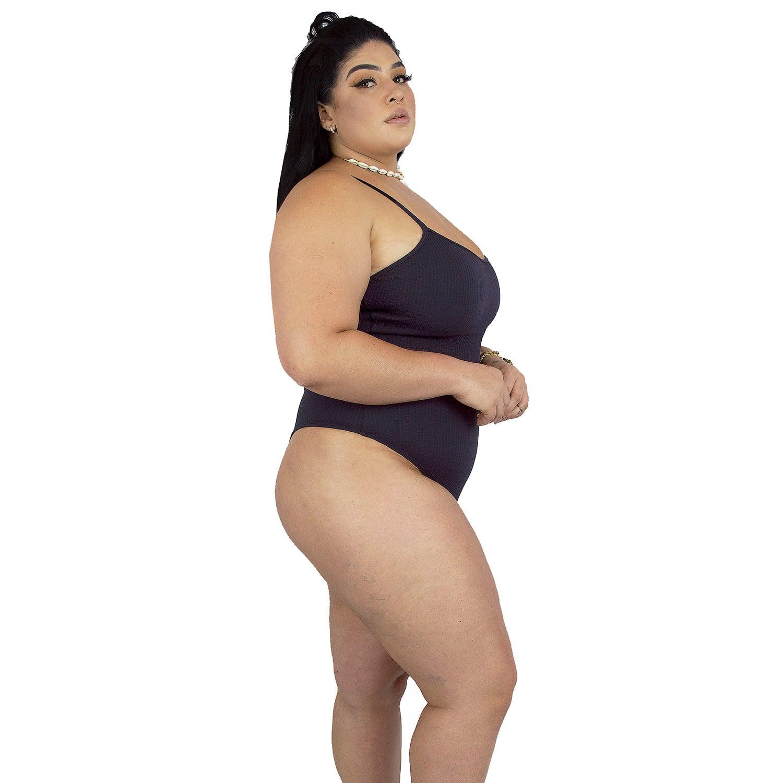 Maiô Body Plus Size Canelado com Alças Finas Reguláveis Preto