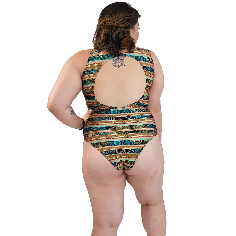 Maiô Body Plus Size com Alças Largas Indígena Dourada
