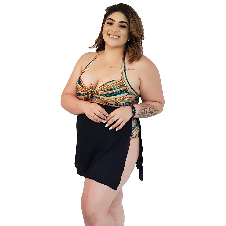 Maiô Body Plus Size com Saída de Praia Embutida Indígena Dourada