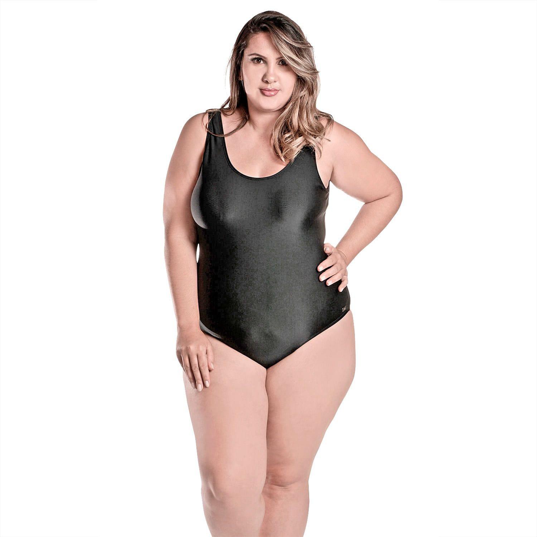 Maiô Body Plus Size Tradicional com Bojo Removível Preto