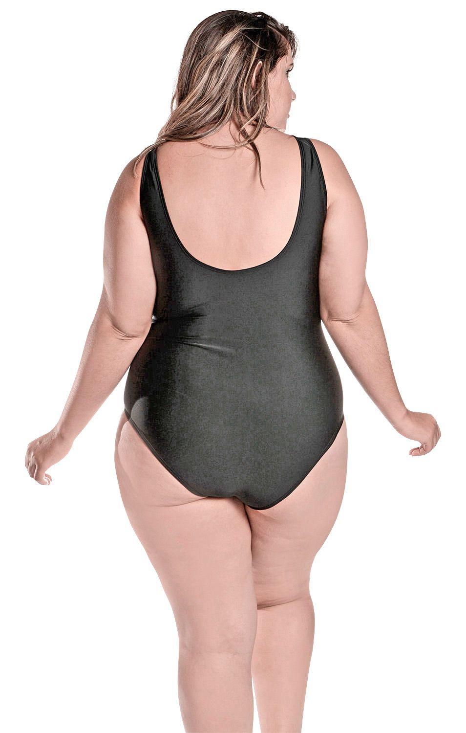 Maiô Body Plus Size Jessica Preto