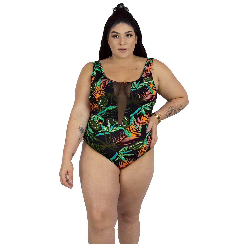 Maiô Body Plus Size Tradicional com Detalhe em Tule Tropicalia