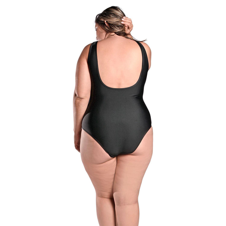 Maiô Body Plus Size Tradicional com Detalhe em Tule no Decote Preto
