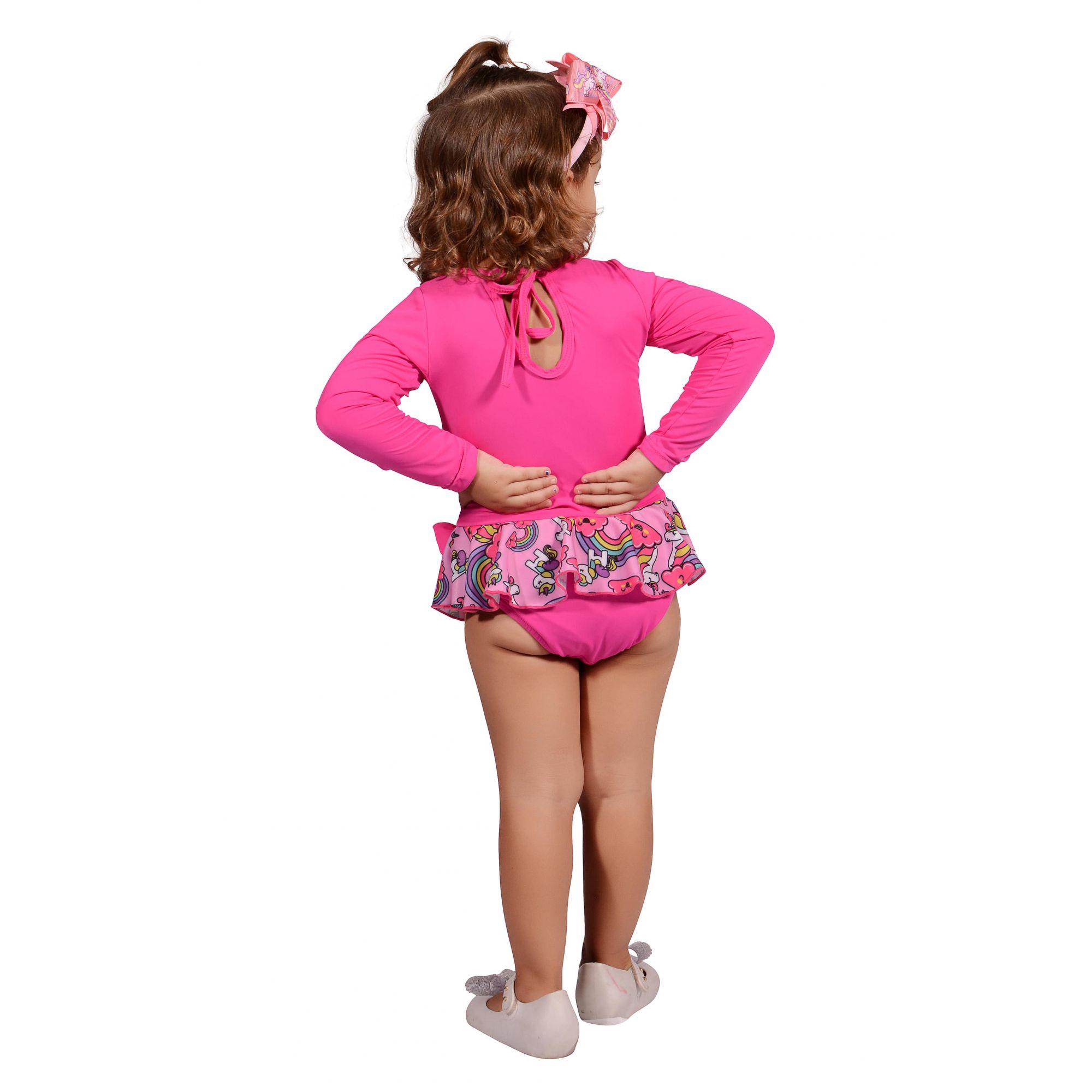 Maiô Infantil Pink Unicórnio