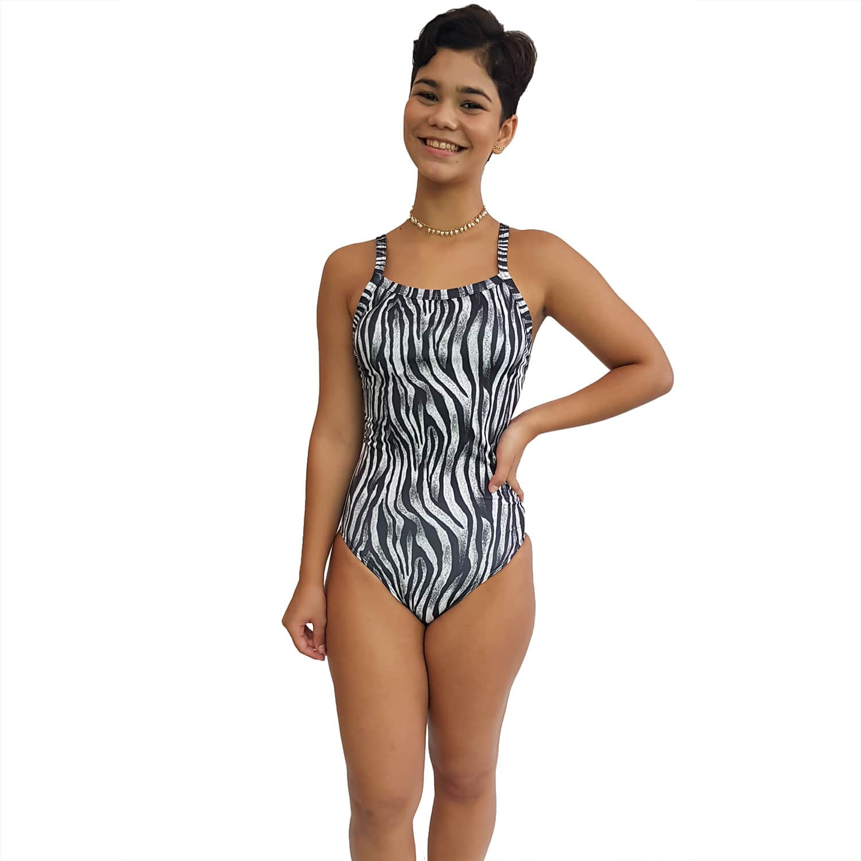 Maiô Natação Alça Fina UV 50+ Zebra