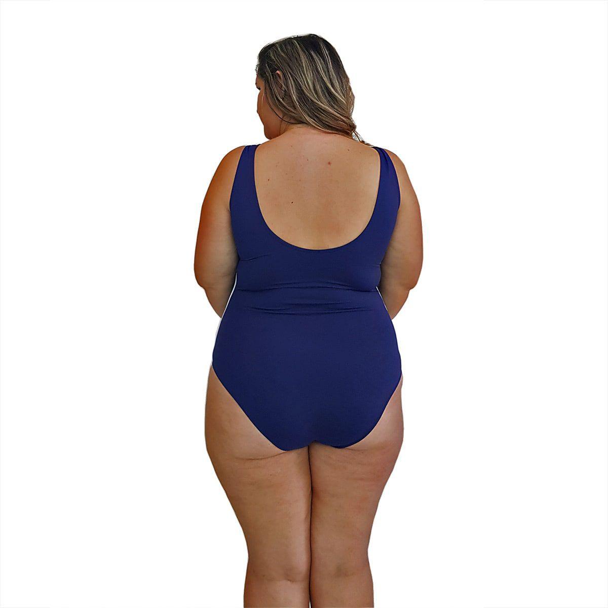 Maiô Natação Plus Size com Bojo Light UV 50+ Azul Marinho