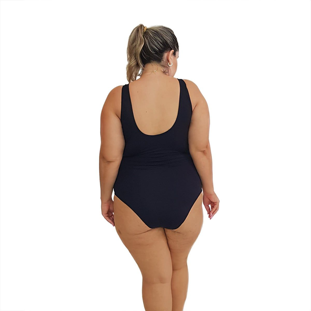Maiô Natação Plus Size com Bojo Light UV 50+ Preto