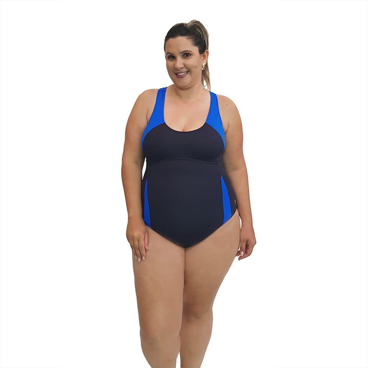 Maiô Natação Plus Size Light UV 50+ Preto com detalhe em Azul Bic