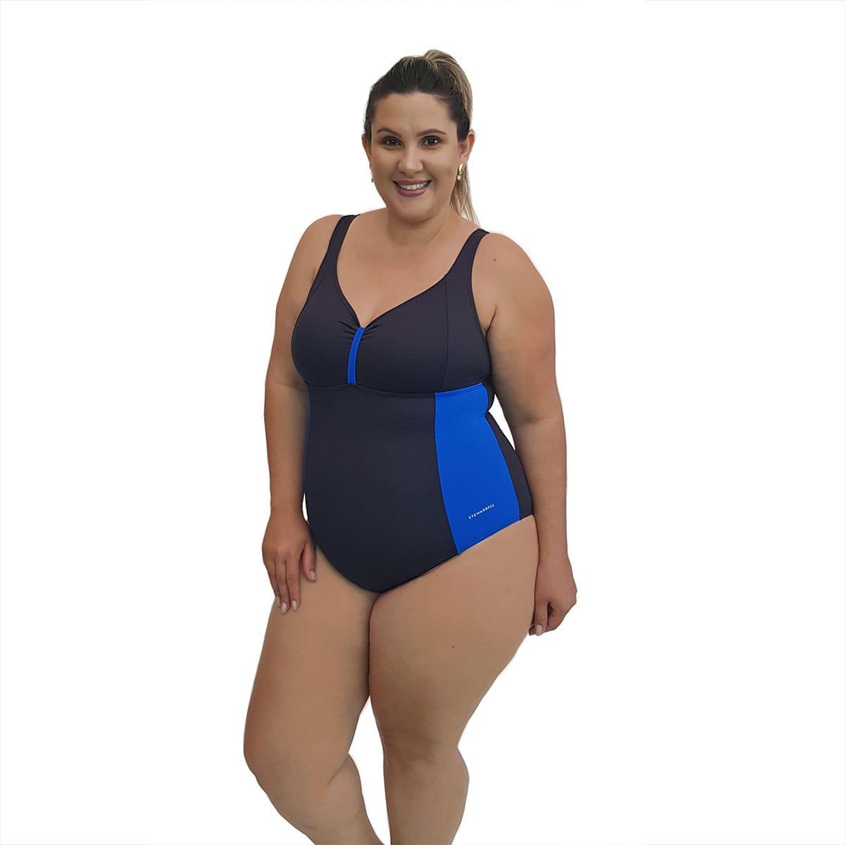 Maiô Natação Plus Size com Sustentação Light UV 50+ Preto com Detalhe em Azul Bic