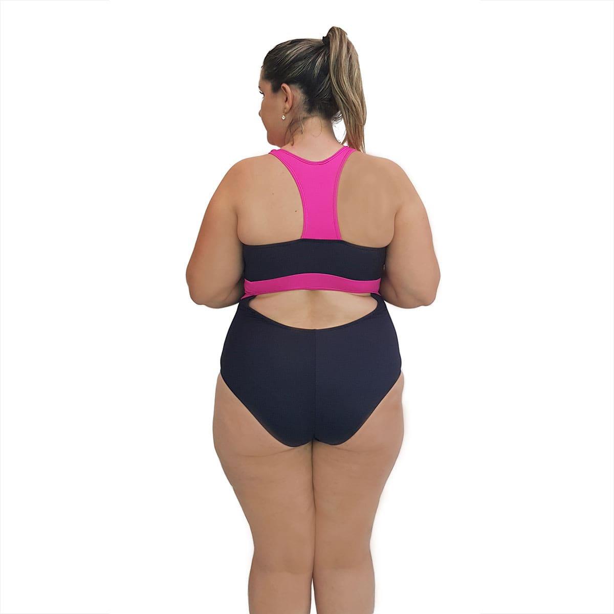 Maiô Natação Light Plus Size Preto e Pink