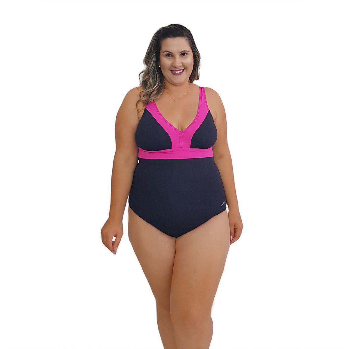 Maiô Natação Plus Size Light UV 50+ Preto com Detalhe em Pink