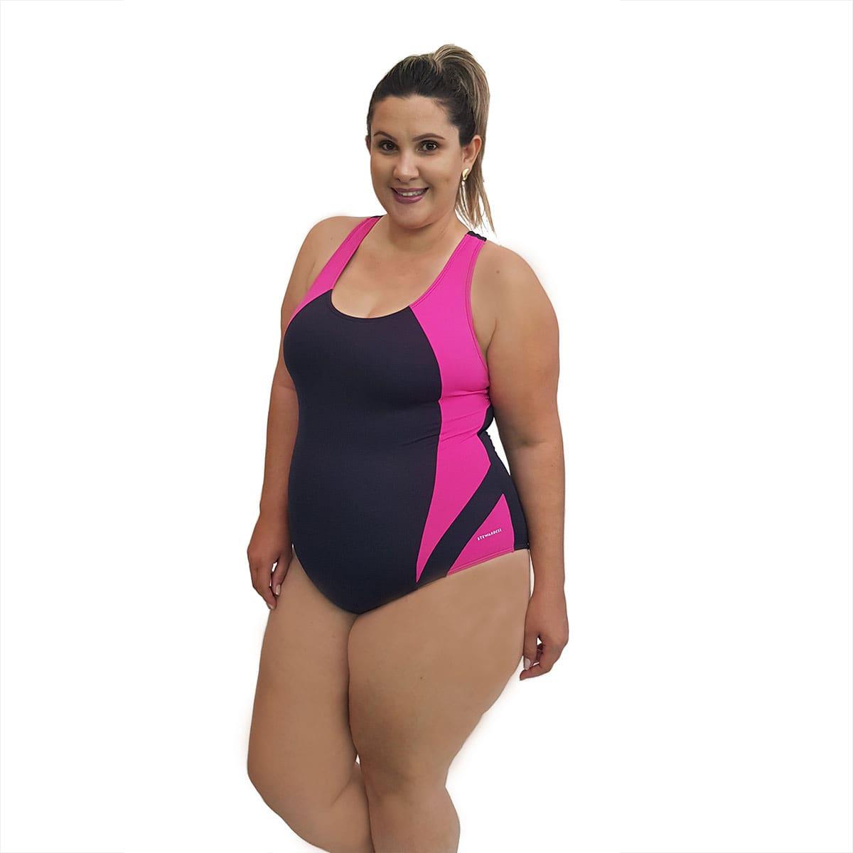 Maiô Natação Light Plus Size Preto Pink