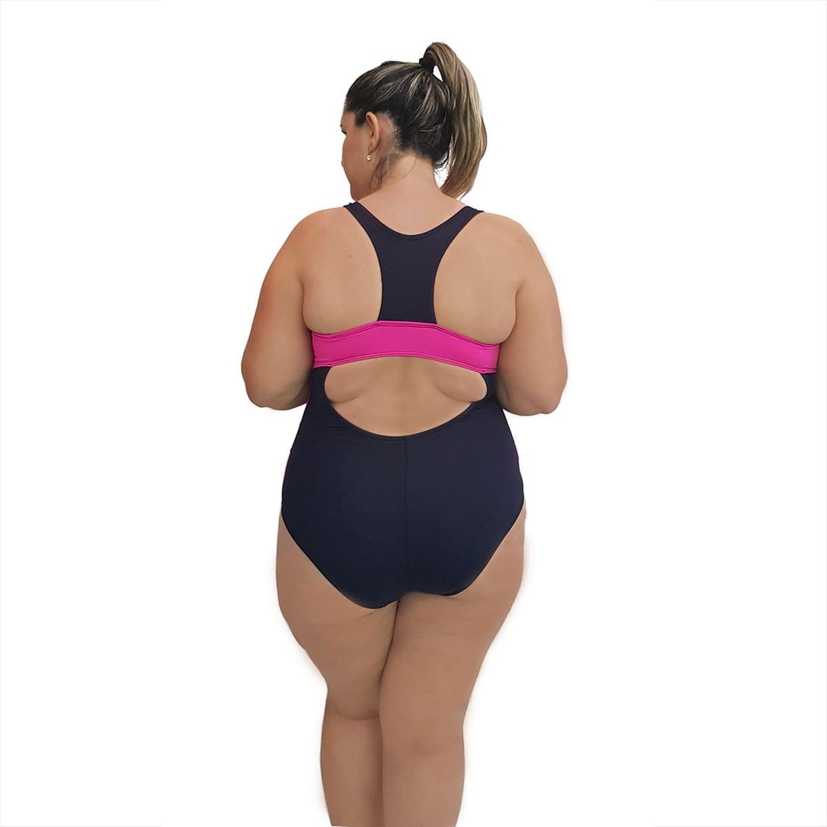 Maiô Natação Plus Size Light UV 50+ Preto com Detalhe em Pink nas Laterais