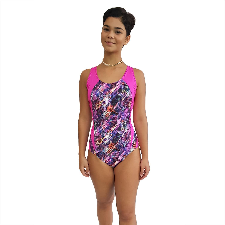 Maiô Natação UV 50+ com Estampa Maravilha e Detalhe nas Laterais Pink