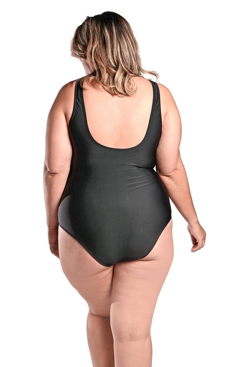 Maiô Body Plus Size com Alças Largas e Recorte no Busto Preto
