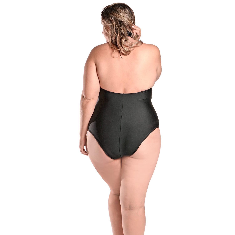 Maiô Body Plus Size Frente Única com Bojo e Alças Largas Preto