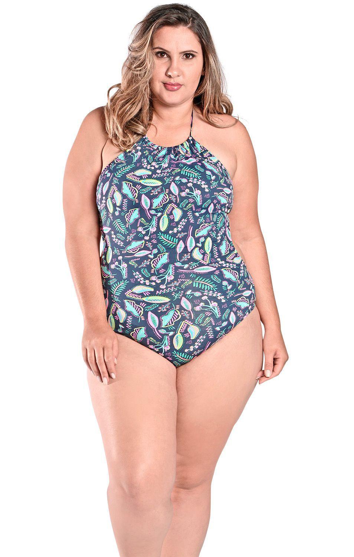 Maiô Body Plus Size Engana Mamãe com Alças Finas e Laterais Largas Florescente