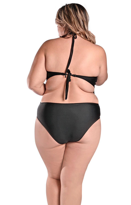 Maiô Body Plus Size Engana Mamãe com Alças Finas e Laterais Largas Preto