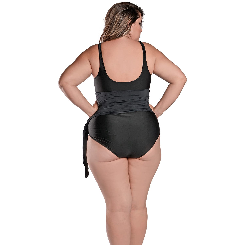 Maiô Body Plus Size com Saída de Praia Embutida Preto