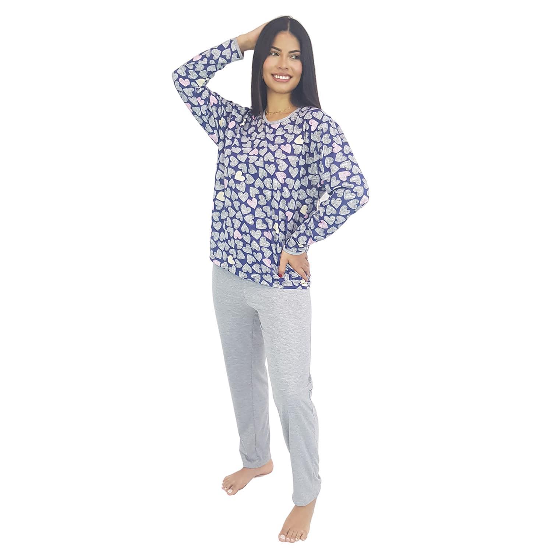 Pijama Longo Feminino Coração Azul
