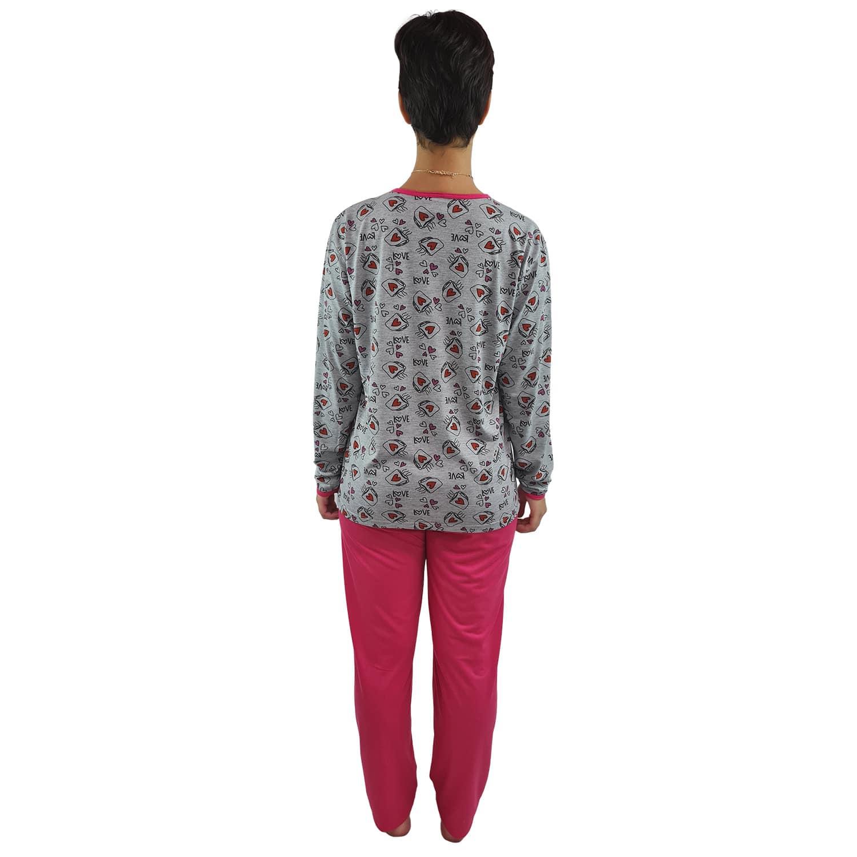 Pijama Longo Feminino Corações