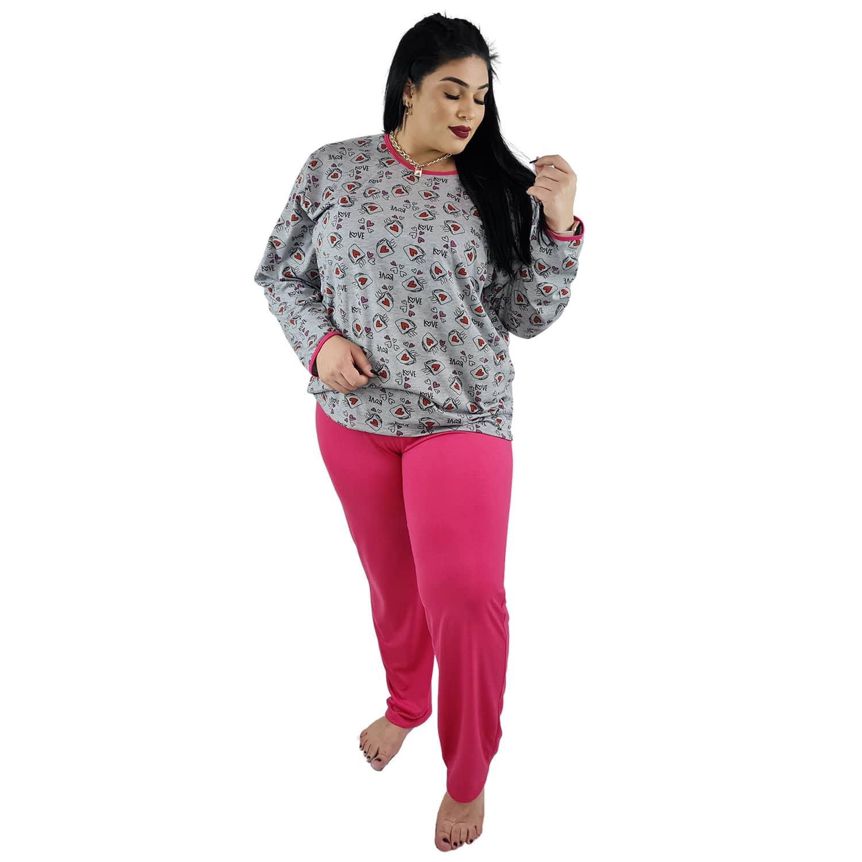 Pijama Longo Plus Size Feminino Corações