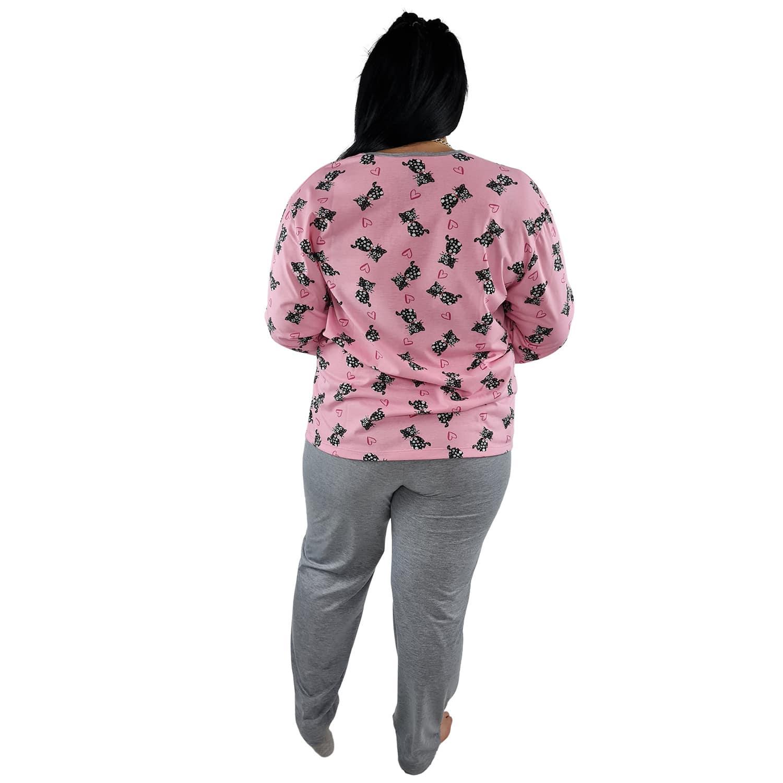 Pijama Longo Plus Size Feminino Gatinho