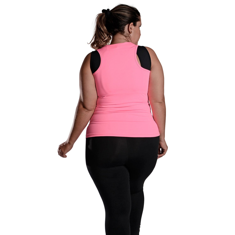 Camiseta Feminina Plus Size Regata UV 50+ New Trip Rosa Fluorescente