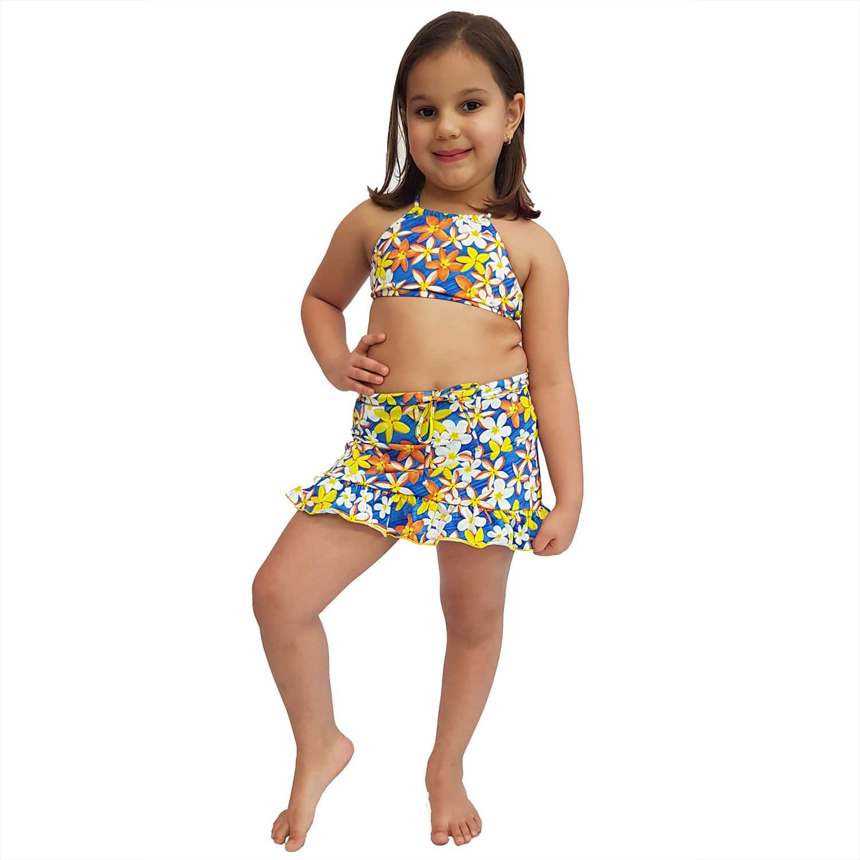 Saia Feminina Infantil Jeans