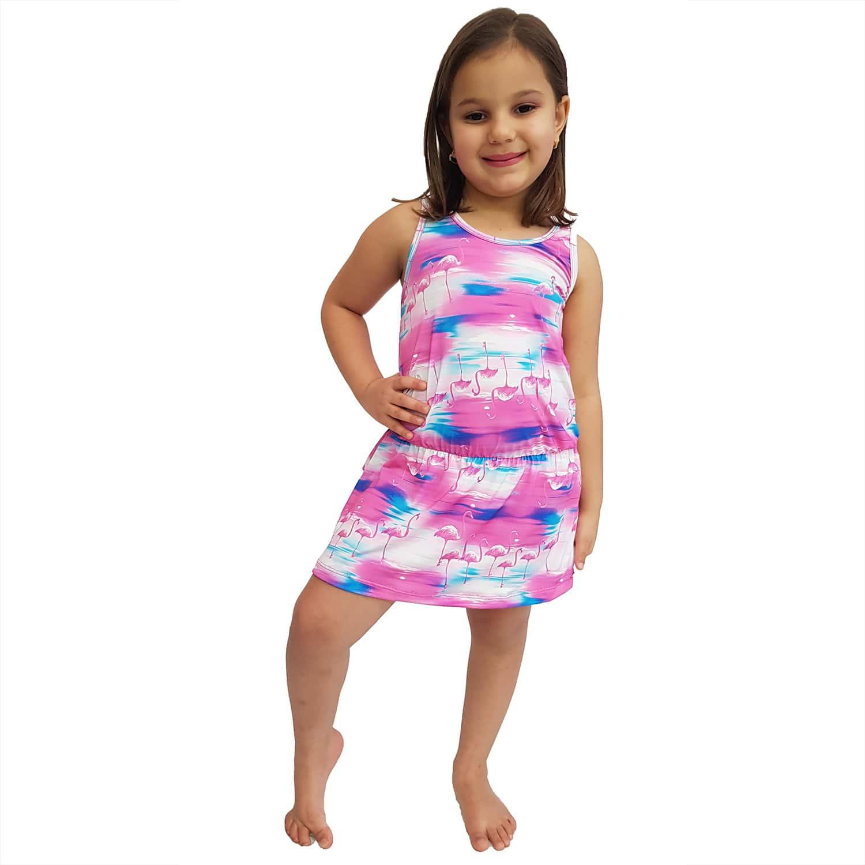 Saída de Praia Infantil Regata Curta com Elástico na Cintura UV 50+ Flamingo