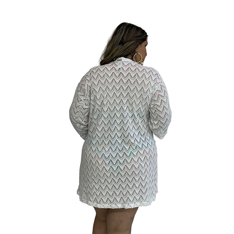Saída de Praia Plus Size Kimono de Renda com Mangas 7/8 Branco