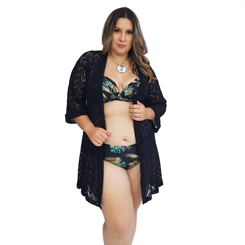 Saída de Praia Plus Size Kimono de Renda com Mangas 7/8 Preto